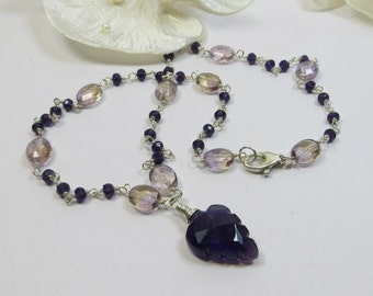 Carved Amethyst Leaf & Sterling Necklace, Ametrine and Carved Amethyst Leaf Pendant with Sterling Silver Wirewrapped OOAK Necklace