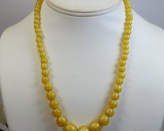 Yellow Satin Glass Bead Necklace, Vintage 1930's Sunshine Yellow Satin Bohemian Glass Beads Necklace, Czech Bohemian Vintage Glass Beads