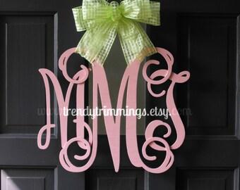"""3-D Wooden Monogram™- 14"""" Interlocking Script Initials- for your front door, home, nursery, or wedding"""