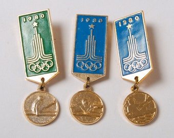 Set of 3 pins, Russia USSR Moscow 1980 Summer Olympic Games Pin Badge,