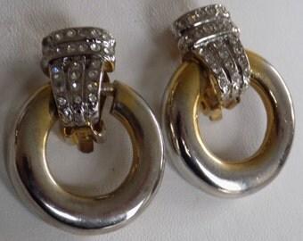 Vintage earrings, Park Lane earrings,doorknocker clip-on earrings, signed vintage jewelry