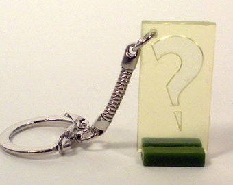 Upcycled, Clue Game Pieces, Charm, Keychain, Question Mark, Pawn Game Piece