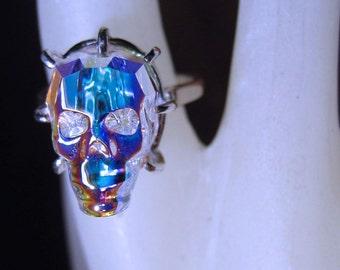 Tiny Lead Crystal Skull Ring Sterling Silver Aurora Borealis Genuine Swarovski handmade custom half sizes 3 4 5 6 7 8 9 10 11 fine jewelry