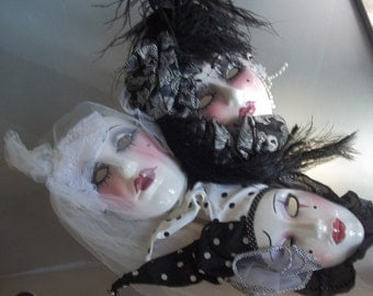 Clay Art and Unique Creations Decorative Masks, Vintage Home Decor, Black and White Masks, Wall Hangings