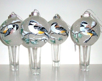 Handpainted Glass Ornament Hand Painted Set Of   4  Chickadees  Playing in the Snow in the Pines