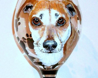 Pet Portrait Wine Glass Custom Hand Painted One 20 oz Handpainted Wine Glass Your Pet Dog Cat Horse Personalized Glassware Paw Prints & Name