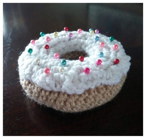 Crochet Donut Pillow : Crochet donut pin cushion by AbandonedLLAMA on Etsy