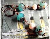 Blue Art Glass, Pearls, Czech Crystal Downton Abbey, Roaring Twenties, Vintage Titanic Earrings