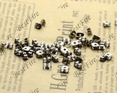 50pcs of Antique Silver Brass Earring STUDS BACK STOPPERS 3x5mm