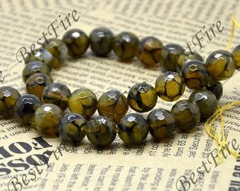 Single Yellow Dragon Veins agate round stone beads, gemstone Beads ,agate stone beads loose strands 14.5inch
