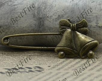 5 pcs Antique Brass Christmas bell Brooch bronze,Flower Brooch
