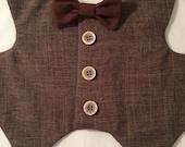 Royal Gentleman in brown dog vest, Custom made wedding dog vest, formal dog vest, wedding dog vest, petite dog vest, holiday dog vest,