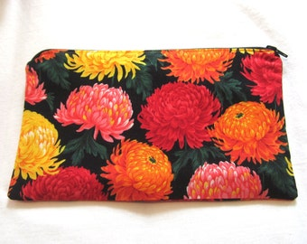 Orange, Pink and Yellow Flower Fabric  Zipper Pouch / Pencil Case / Make Up Bag / Gadget Pouch