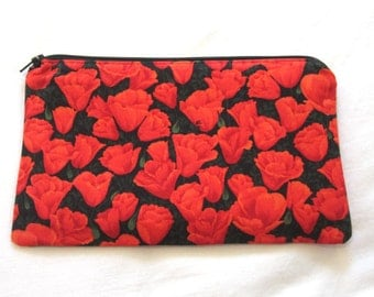 Red Tulips Fabric  Zipper Pouch / Pencil Case / Make Up Bag / Gadget Pouch