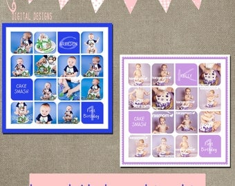 Cake Smash template boy and girl set Storyboard square 10x10 15x15 20x20 Collage blog board fist 1st birthday collage - INSTANT DOWNLOAD