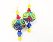 Autism Lampwork Earrings, Glass Bead Earrings, Colorful Dangle Earrings, Blue Yellow Red Earrings, Lampwork Jewelry, Beadwork Earrings