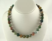 Gemstone Necklace, Indian Agate Necklace, Gemstone Jewelry, Chunky Statement Necklace, Multicolor Necklace, Round Beaded Necklace