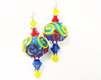 Autism Lampwork Earrings, Glass Bead Earrings, Colorful Dangle Earrings, Blue Yellow Red Earrings, Lampwork Jewelry, Beadwork Earrings