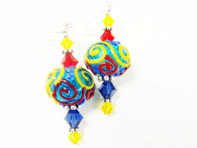 autism lwork earrings glass bead earrings colorful dangle