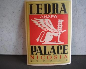 Vintage Mid Century Luggage Travel Sticker - Ledra Palace - Nicosia, Cyprus