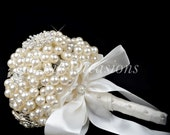 Wedding Silver Pearl Brooch Bouquet for a Bride