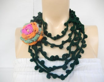 Forest Green Scarf-Leaves  Necklace Scarf-Lariat Scarf-Handmade Loop Scarf - Crochet Infinity Scarf wit Rose Pin