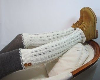 Ivory Lace Boot Socks Cable Knit Knee High Sock Leg Warmers White Button Toppers A1355