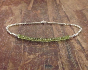 Womens Anklet Peridot Anklet Silver Beaded Anklet Anklets Gemstone Anklet Stone August Birthstone Jewelry Body Jewelry Womens Gift for Women