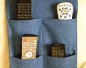 Remote Control Caddy Organizer 4 pocket blue denim