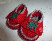 Red and Gray Crocheted Baby Loafers