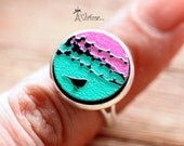 20% off -Unique 3D Embossed Birds 16mm Round Handmade Wood Cut Cabochon to make Rings, Earrings, Bobby pin,Necklaces, Bracelets-(WG-44)