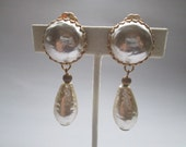 Vintage Miriiam Haskell Faux Baroque Pearl Teardrop Dangle Gold Earrings