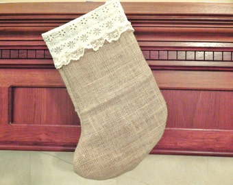 burlap and vintage lace Christmas stocking hessian reversible direction country shabby chic decor