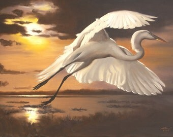Great White Egret wildlife bird sunset 24x36 oils on canvas painting by RUSTY RUST / E-147