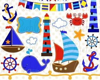 Nautical Clipart Clip Art, Marine Sailing Boat Ship Sailboat Clipart Clip Art Vectors - Commercial and Personal