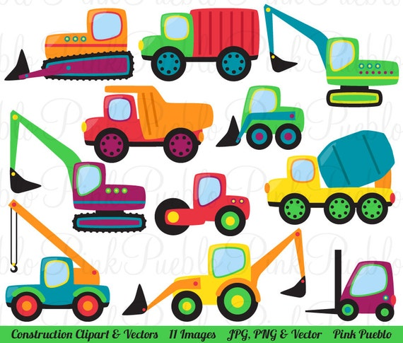 Construction Transportation Clipart Clip Art Vectors Great For Kids Birthday Party Invitations