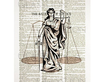 The Balance of Justice Print on Vintage Dictionary Page