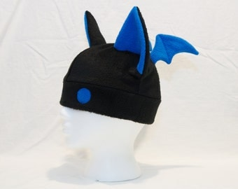 Bat Hat Black and Bright With Eyes