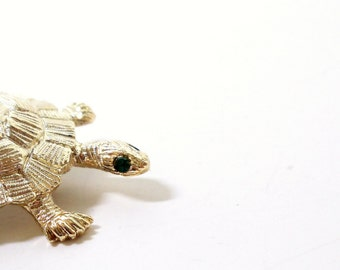 Turtle Brooch- Gerry's Turtle Pin- 1960s Pin- Figural Brooch- Green Eyed Turtle- Turtle Pin- 3D Turtle Brooch- Goldtone Turtle Pin