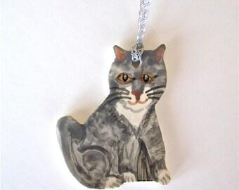 Cat Ornament Keepsake Gray and White Ceramic Kitten Ornament