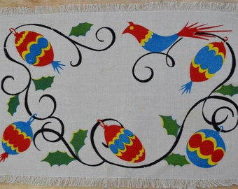 Vintage Christmas Placemats Non Traditional Colors Red, Yellow and Blue on Gray Linen Bird and Ornaments Woven Set of 4