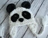 Panda Bear Hat - Baby Panda Hat - Black and White Panda Hat - Baby Hat - Newborn Bear Hat - Photo Prop -by JoJosBootique