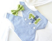 Personalized Green and Navy Blue First Birthday Tuxedo Bodysuit Vest with Matching Green Polka Bow Tie