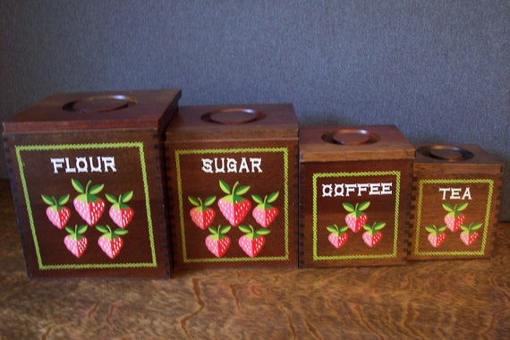 vintage wooden kitchen canister set strawberry design vintage handmade wooden kitchen canister set 1976 by