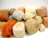Earth Toned Vintage Yarn, Mystery Box of Yarn, Knitting Supplies, Crochet Supplies