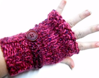 Chunky Fingerless Mitts, Womens Accessories, Burgundy Texting Gloves