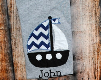 Preppy Sailboat Personalized Embroidered Shirt or bodysuit