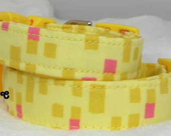 Dog Collar Yellow w Pink Dark Golden Rectangle Square Pattern Adjustable Dogs Collars D Ring Choose Size Accessory Pet Pets Stripes Stripe