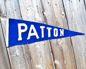 Vintage Blue Felt Patton School Pennant