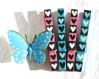 PINK and BLUE HEARTS Clothespin hand painted magnetic pegs